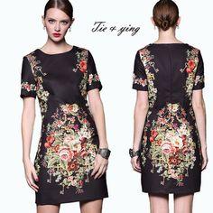 Women summer dress brand 2015 runway elegant black vintage floral short print dress lady plus size womens casual dresses XXL