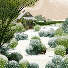 illustration and art by Jane Newland, represented by The Bright Agency. Art And Illustration, Illustration Techniques, Book Illustrations, Christmas Art, Christmas Garden, Winter Christmas, Guache, Blackpool, Garden Care