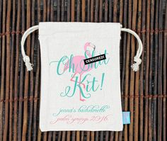 // OH SHIT KIT! Lets be honest SHIT HAPPENS, but dont let it happen to you + your girls on your bachelorette! Perfect for a PALM SPRINGS bachelorette!! //  Add an instant shot of excitement, fun and glam to your bachelorette party with our fab favor bags. Perfect to hold nail polish, lipstick or other little goodies in to celebrate your big bash! They're especially perfect as hangover kits so fill them with aspirins, alka-seltzer and mints in for the morning after the big ...
