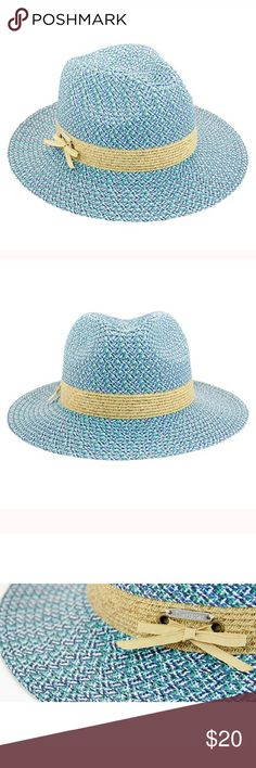 New multi color panama hat with ribbon Women's fashion panama hat. One size fits most women ( head circumference is about 57cm). 3 inch brim. The Hatter Company Accessories Hats
