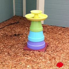 DIY birdbath. Use regular flower pots- 14, 12, and 10 inch, stack on top of each other. 16inch basin on top with a small pot and another small basin on top of that for birdseed! Paint whatever colors you want! I got all materials at home depot for around $70!