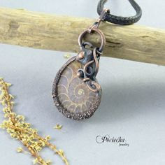 Ammonite fosil pendant necklace by by POCIECHAjewelry on Etsy