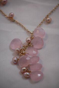 rose quartz briolette & pearl necklace by adgiggles on Etsy, $40.00