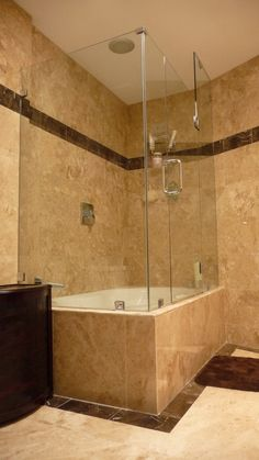 @J O Nathan - Stand alone tub with a single, swinging glass divider for master?