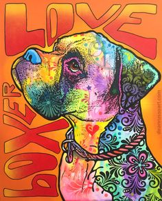 BOXER LOVE (Red) Original Painting – Dean Russo Art