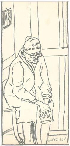 E. Besozzi pitt. 1955 Personaggio pennarello su cartoncino cm. 29x13.1 arc. 417