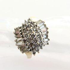 Vintage 14K Cocktail Ring Diamond Pave & White Topaz | Etsy