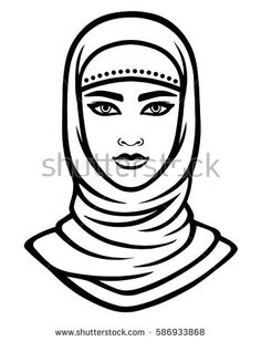 Animation portrait of the Arab woman in a hijab. Linear monochrome drawing isolated on a white background. Desert Drawing, Vector Animation, Face Illustration, Face Sketch, Arab Women, Silhouette Art, Face Design, Woman Drawing, Pen Art