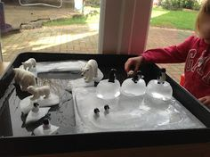 We got out our Arctic animals and added some ice to our play this week. This was the first set up we tried yesterday. I froze a . Ice Play, Water Play, Sand And Water, Fine Motor Activities For Kids, Preschool Activities, Christmas Activities, Christmas Crafts, Sensory Bins, Sensory Play