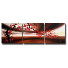 Hand-painted 'Red Plum Blossom' 3-piece Canvas Art Set