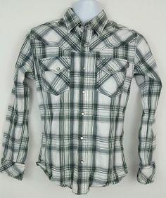 BKE Buckle Gray White Plaid Long Sleeve Pearl Snap Western Shirt Small Slim Fit #Buckle #Western