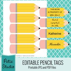 Free printable pencil tags for classroom use and craft projects. 4 Editable PDF files and 1 printable JPG image with blank pencils.