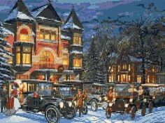 Victorian gathering - Christmas cross stitch kit or pattern