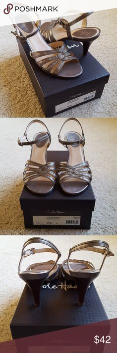 "Cole Haan Lorilee Sandal Silver 3"" heel sz 9.5 Gently used Cole Haan 'Lorilee' sandal in Vintage Silver sz 9.5. Approx. 3"" heel.  Leather upper, rubber sole.  Made in Brazil. Cole Haan Shoes Sandals"