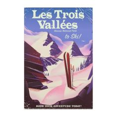 Les Trois Vallées Ski travel poster Acrylic Print - classic gifts gift ideas diy custom unique