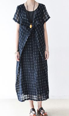navy stylish linen dresses plus size sundress short sleeve maxi dress