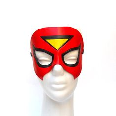 Leather Mask Spiderwoman Superheroine Red Super Hero Halloween Cosplay Masquerade Spider Woman Comic Jessica Drew Costume Carnival Party