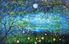 Fireflies under the springtime moon  Large print via Etsy.