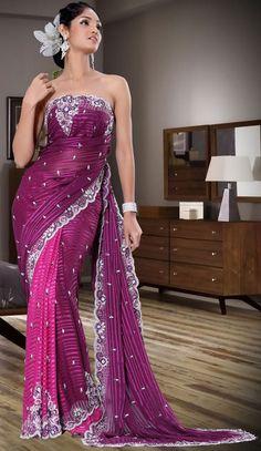Modern Saree Purple Color 2012