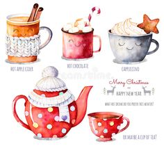 Merry Christmas and Happy New Year set. Watercolor collection with a choice of hot drinks:apple cider,tea,chocolate,cappuccino.What hot drink do you prefer this winter? Winter Illustration, New Year Illustration, Christmas Illustration, Cute Illustration, Christmas Drawing, Christmas Art, Christmas Watercolour, Christmas Sketch, Christmas Clipart
