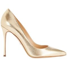 Sergio Rossi Godiva Shiny Metallic Leather Pump (€230) ❤ liked on Polyvore featuring shoes, pumps, heels, gold, metallic heel pumps, metallic shoes, pointed toe high heel pumps, metallic leather pumps and leather pumps