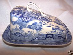 Blue Willow Pattern Butter Cheese Dish with Lid New | eBay