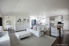 love the tree trunk wall with pix and overall feel of this room