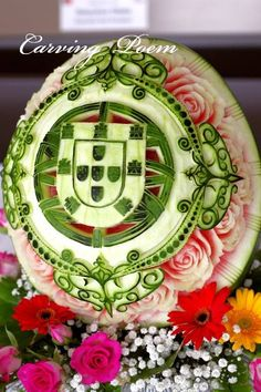 Watermelon carving Flag of Portugal.