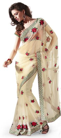 $126.00 Buttercream Tussar Silk Wedding Saree 9476