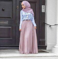 Pleated lila maxi skirt-Hijab style 2017 – Just Trendy Girls