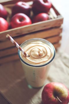 Caramel Apple Pie Protein Shake. Recipe: http://dashingdish.com/recipe/caramel-apple-pie-protein-shake/