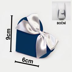 Dárková krabička SRDÍČKO 9 x 9 x 3 cm - tm. modrá (10 ks/bal)