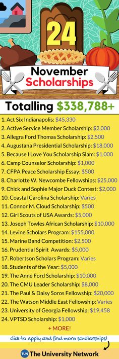 Here is a selected list of November 2018 Scholarships. College Board, College Club, Back To College, College Life Hacks, School Hacks, College Tips, College Scholarships, School Scholarship, Higher Education