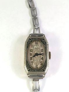 Art Deco and Enamel Vintage Ladies Wrist Watch by benjiboyvintage