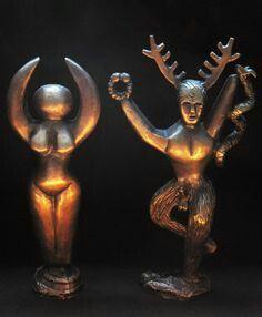 goddess and cernunnos    pendant