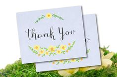 10 Floral Thank You Cards yellow blue or 10 by SAEdesignstudio