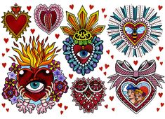 Sacred Heart Pictures, Mexican Artwork, Showing Gratitude, Arm Tats, Heart Projects, Symbols And Meanings, Art Drawings Beautiful, Chicano Art, Zentangle Patterns