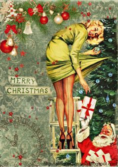 retro digital artwork-pin up girl Merry Christmas, Christmas Scenes, Vintage Christmas Cards, Vintage Holiday, Xmas, Decoupage, Christmas Aesthetic, Christmas Illustration, Vintage Greeting Cards