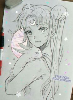 young woman or girl carrying 'round a bunny (white?) over her shoulder (Yes,… young woman or girl carrying 'round a bunny (white?) over her shoulder (Yes, this is a drawing of Sailor Moon) Sailor Moon S, Sailor Moon Crystal, Sailor Venus, Sailor Mars, Manga Anime, Anime Art, Manga Girl, Bunny Art, Bunny Bunny