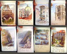small plein air studies - watercolour and gouache - Marco Bucci