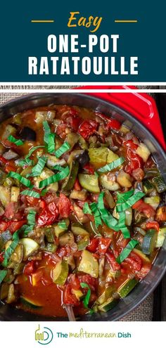 Ratatouille is a classic vegetable stew from Provence, France, with tomatoes, eggplants, summer squash, bell peppers, onions and garlic. My easy recipe takes one pot and cooks in about 40 minutes. And because it is even better the next day or two, it is the perfect make-ahead meal. I highly recommend making a big batch to freeze for later! Best Dinner Recipes, Vegetarian Recipes Easy, Good Healthy Recipes, Clean Eating Recipes, Easy Recipes, Healthy Comfort Food, Healthy Meals For Kids, Easy Healthy Dinners, Quick Easy Meals