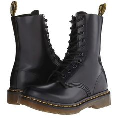 Pre-owned Dr. Martens 1490 W 10 Eye Black Boots (145 CAD) ❤ liked on Polyvore