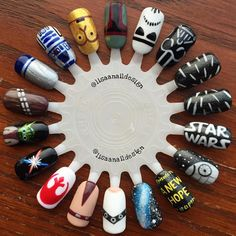 a bunch of different star wars nails! Trendy Nails, Cute Nails, Nail Art Disney, Hair And Nails, My Nails, Nail Art Designs, Nails Gelish, Star Wars Nails, Manicure Y Pedicure