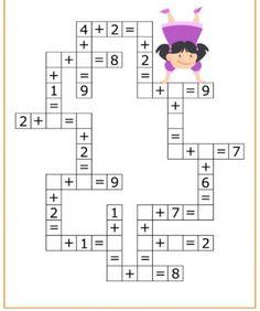 Coloring Pages, Education, Learning: Math Activities Preschool Printables Kindergarten Preschool Printables, Preschool Worksheets, Preschool Activities, Mental Maths Worksheets, Maths Puzzles, Elementary Math, Kindergarten Math, Math Addition, Homeschool Math