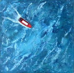 "For Sale: Freighter at Sea by Laurie Schena | $200 | 12""w 12""h | Original Art | https://www.vangoart.co/laurieschena/freighter-at-sea @VangoArt"