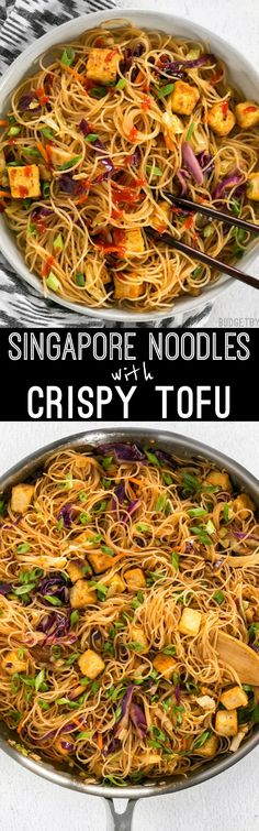 These Singapore Noodles with Crispy Tofu have a bold flavor and vibrant  colors thanks to shredded
