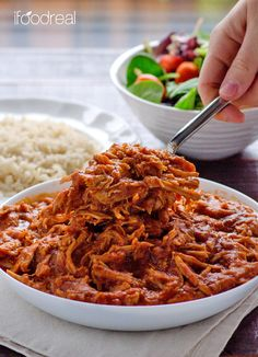 Clean Crock Pot Pulled Pork Recipe -- Clean Crock Pot Pulled Pork made from scratch, no bottles of BBQ sauce, for easy clean dinner. Serve on a bun or bed of quinoa or rice.