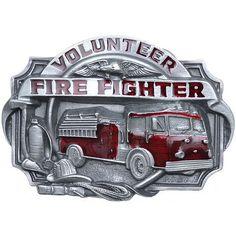 Volunteer Firefighter Red Enamel Belt Buckle – Baubles-N-Bling