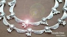Anklet Jewelry, Bridal Jewelry, Silver Jewelry, Silver Payal, Silver Anklets, Buy Gold Jewellery Online, India Jewelry, Hippie Accessories, Anklet Designs