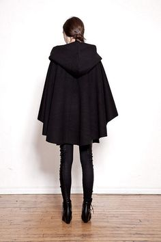 OVATE Black Hooded Wool Cloak